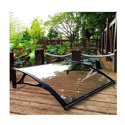 YJFENG Window Door Awning Canopy, Outdoor Patio Polycarbonate Cover, Porch Front Shetter UV/Rain Protection, Aluminum Alloy Bracket (Color : Clear, Size : 60x120cm)