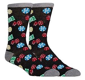 Zoo York Men's Novelty Casual Dress Socks, Crazy Casino Vegas Poker Socks for Men, Fun Sock for Men, Bachelor Party Gift from