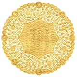 The Baker Celebrations Metallic Gold Foil 10 inch Paper Lace Decorative Doilies - Made in Canada (Pack of 25)