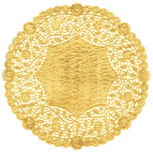Metallic goudfolie 10 inch (25,4 cm) ronde papieren kanten kleedjes - gemaakt in Canada (50)
