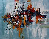 Angie Decoration Cuadro Abstracto moderno Nube Azul 100x80 cm