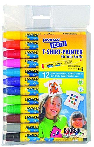 Kreul 90720 - Javana Texi Mäx Sunny Stoffmalstifte für helle Stoffe, waschecht nach Fixierung, mit unempfindlicher Rundspitze ca. 2 - 4 mm, 12 Stifte in verschiedenen Farben