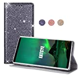 EATCYE Custodia per Galaxy Note 9, Brillantini Custodia Libro Portafoglio con Magnetic Closure Paraurti Lucciante Luminosa Cover per Samsung Galaxy Note 9 (Argento)