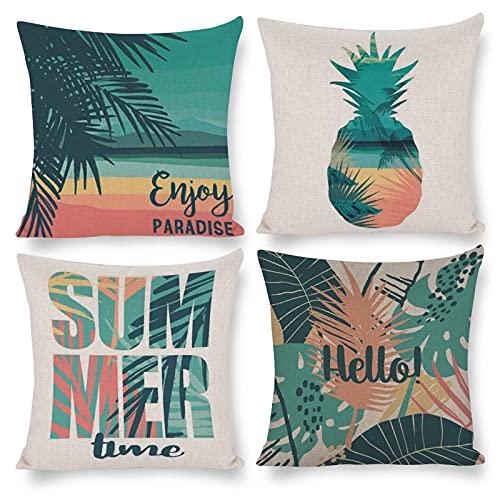 DKISEE Juego de 4 fundas de almohada decorativas para el tiempo de verano, 45,7 x 45,7 cm, funda de almohada con cremallera...