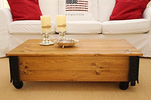 Uncle Joe's Tavolino da salotto in stile vintage-shabby chic, dotato di coperchio apribile, in legno, marrone chiaro, 100 x 65 x 30 cm