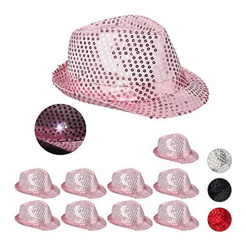 Relaxdays 10 x Pailletten Hut, 6 blinkende LEDs, mit Glitzer, Männer & Frauen, JGA, Fasching, Partyhut, Einheitsgröße, pink