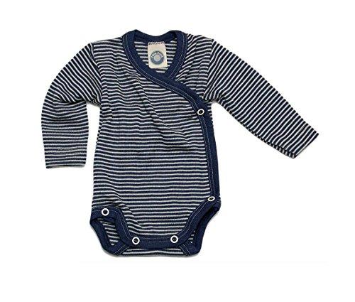 Cosilana Baby Wickelbody, Größe 62/68, Farbe Ocean-Blau geringelt, 70% Wolle und 30% Seide kbT