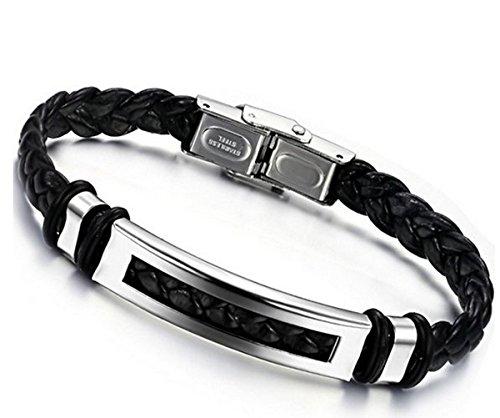 Jstyle Schmuck Edelstahl Herren allergiefrei Herrenarmband Lederarmbänder Leder breit Armband Best Freund schwarz für Männer 20cm Länge