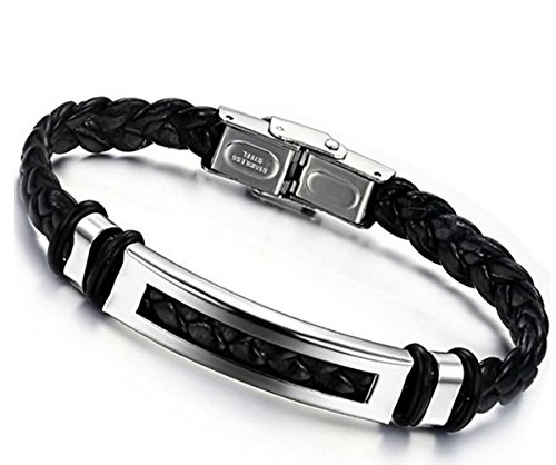 Jstyle Jewelry Stainless Steel Black Men's Bracelet Leather Braided 20 cm