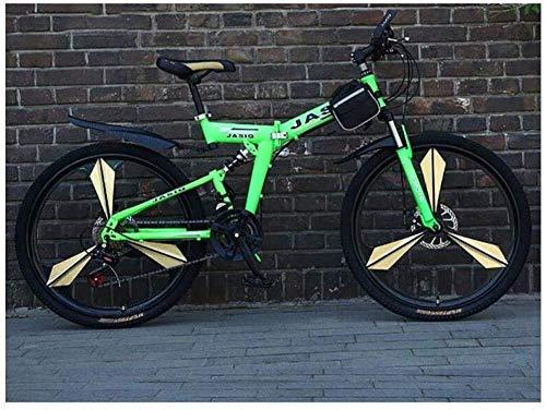 Mountainbike 21-Gang-Unisex-Mountainbike mit doppelter Federung und hohem Kohlenstoffgehalt Stahl 24 Zoll 26 Zoll Integralrad Doppelscheibenbremse Commuter City Folding-21 Geschwindigkeit 26 Zoll_Grün