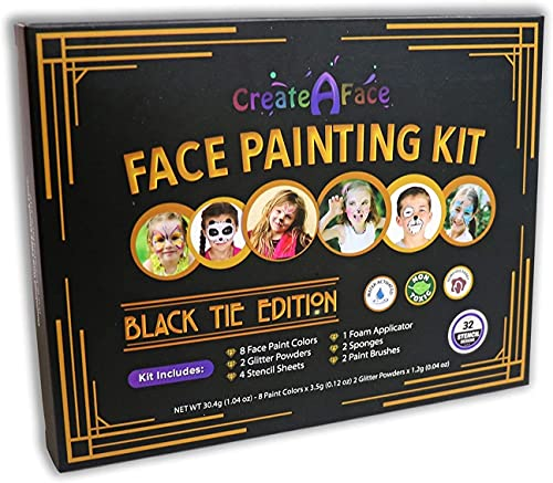 Product Image of the Face Painting Kit for Kids - 32 Stencils, 8 Water Based Face Paint Colors, 2...