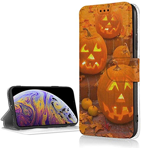 Romance-and-Beauty Halloween Pumpkin Case para iPhone XR Luxury PU Leather Wallet Case Flip Folio Cover con Ranuras para Tarjetas Correa de muñeca