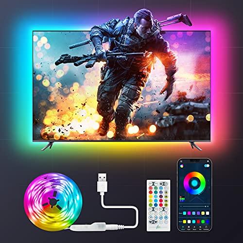 Maxsure Striscia LED 2 metri, USB LED TV Retroilluminazione RGB, 8 Modalità Musica, 16 Milioni Colori e 8 Modalità, Controllo APP, Luci Led Kit TV per TV da 40-60 Pollici PC Monitor e Camera