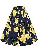 Bridesmay Falda Plisada Estampada Floral/a Lunares Vintage de Años para Mujeres Lemon-Navy XS