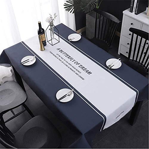 Yuzhijie Mantel | impermeable y sin lavado | Rectángulo | Paño de mesa de té de lino de algodón | color sólido | lujo ligero | arte de tela | mesa de comedor, A – 140 x 180 cm