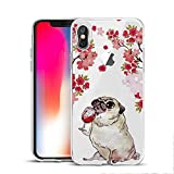MAYCARI for Cute Pug iPhone 7/iPhone 8 Case Clear for Kids Teens Girls Boys, Fun Kawaii Animal Dog Design Soft TPU Bumper Shock Absorption Slim Protective Cover - Wine/Pug