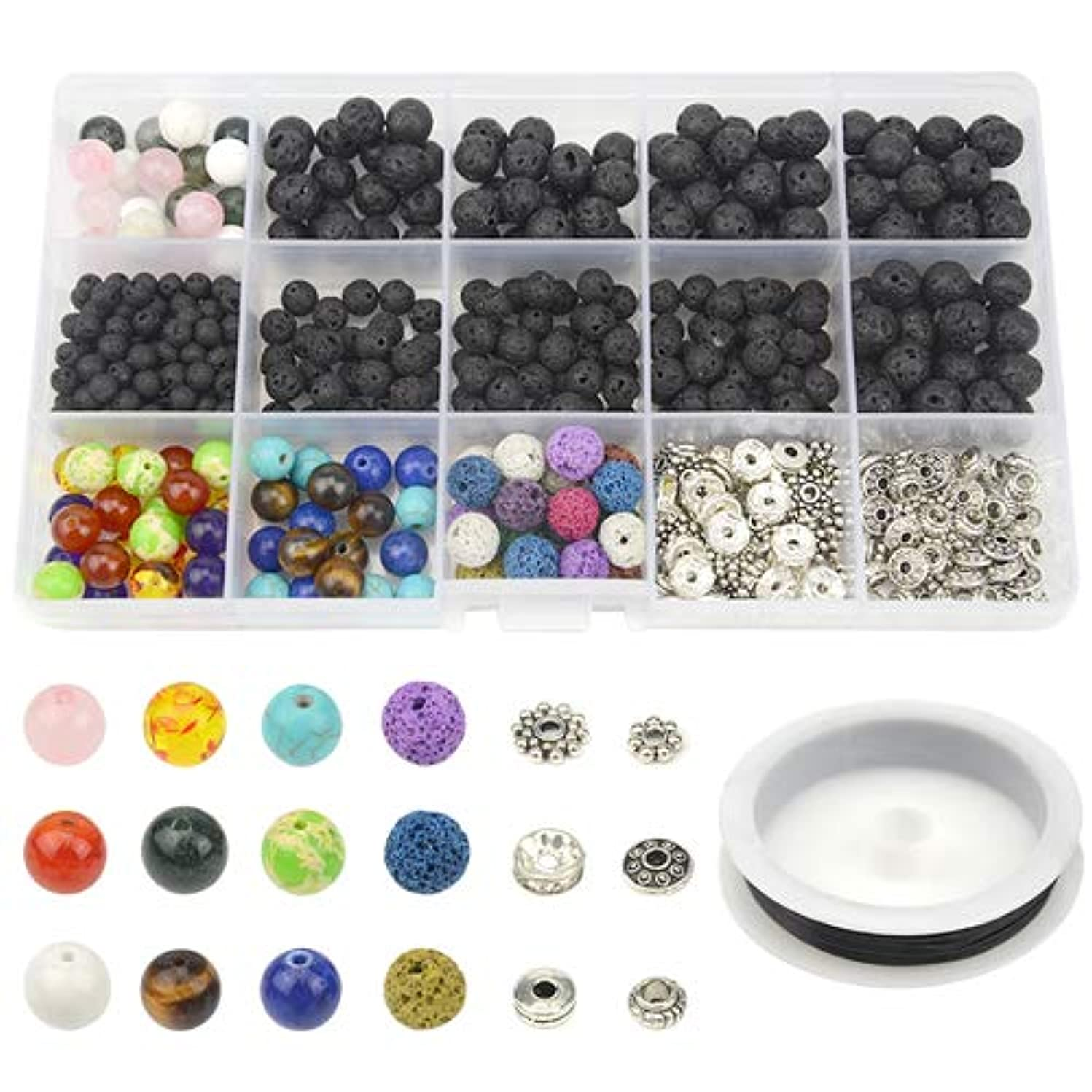 XLX 500PCS Round Chakra Beads Aquatic Agate Stone White?Turquoise Crystal Bead Composite Set Zinc Alloy Bead Accessory Colored Lava Rock Stone Volcanic Stone Bead with 1PCS Elastic Crystal String for