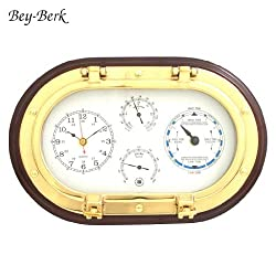 Bey-Berk SQB579 Lacquered Brass Oval Porthole Quartz Tide and Time Clocks, Thermometer and Hygrometer on Mahogany Wood. Black
