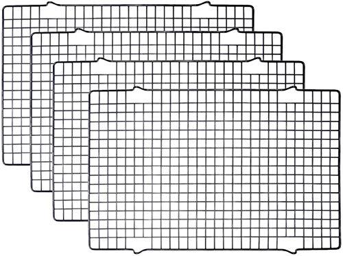 Tebery 4 Stück Edelstahl-Grillrost & Auskühlgitter, passt auf Backbleche für das Backen von Keksen und Kuchen, Räuchern, Grillen, Auskühlen – Rost- Resistent & Ofenfest 40,6 x 25,4 cm