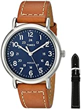 Timex Men's TWG019200 Weekender 40mm Tan/Blue Two-Piece Leather Strap Watch Gift Set + Black Leather Strap