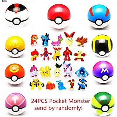 LSXSZZ8 9pcs Ball Pokemon Master Great Ultra GS Pokeballs + 24pcs Action Figures Cosplay Pop-up Ball Kid Toys Plastic Super Anime Pikachu Pokeball Figure Variable Bouncing Child de China