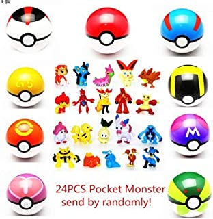 LSXSZZ8 9pcs Ball Pokemon Master Great Ultra GS Pokeballs + 24pcs Action Figures Cosplay Pop-up Ball Kid Toys Plastic Super Anime Pikachu Pokeball Figure Variable Bouncing Child