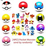 LSXSZZ8 9pcs Ball Pokemon Master Great Ultra GS Pokeballs + 24pcs Action Figures Cosplay Pop-up Ball...