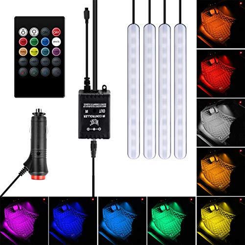Auto LED-Streifen Lichter Auto Innenraum LED RGB Licht 4 Streifen 48 LED Auto Atmosphäre Lampe Fernbedienung Musik Aktiviert Fußraum Streifen Licht - Autoladegerät