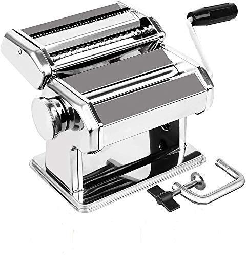 S/L Máquina para Hacer Pasta, Máquina de Pasta de Acero Inoxidable 3 en 1 (8 Configuraciones de Grosor), para Fettuccine/Espagueti/Lasaña/Masa, Plata 150