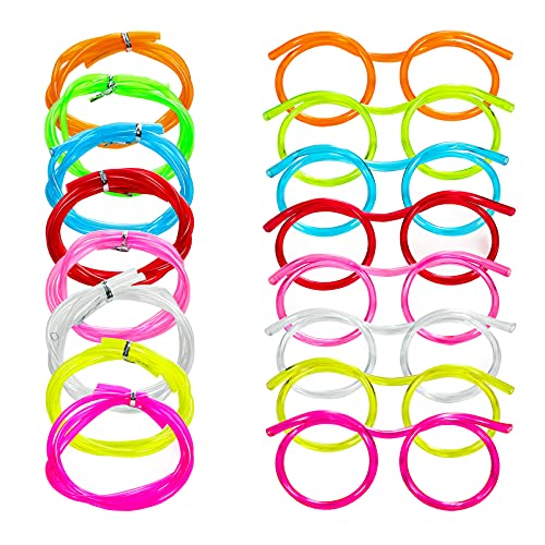 CVNDKN 8 PCS Silly Straw Glasses,Reusable Novelty Crazy Loop Eye Straws For DIY Fun Activities, Family Parent-Child Gatherings, Children's Classroom Rewards.-8 Multi-Colors