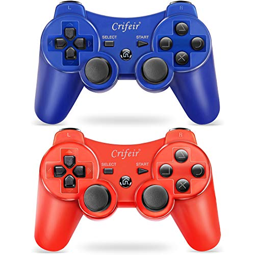 Crifeir 2 Pack Wireless Controller for Playstation 3 PS3 Controller with 2 Charge Cable(Red and Blue)