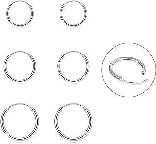 Silver Hoop Earrings- Cartilage Earring Endless Small...