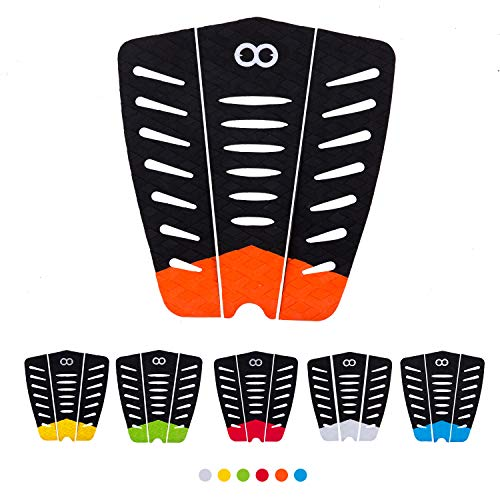 WOOWAVE Surfboard Traction Pads 3 Piece EVA Surfing Traction Pad Premium with 3M Adhesive and Tail Kicker for Surf Board Skimboard Longboard, Orange
