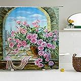 XCBN Cortinas de Ducha de Flores Retro Europeas, Cortina de baño, Tela de poliéster con impresión 3D Impermeable, Tela de poliéster con Ganchos A3 90x180cm