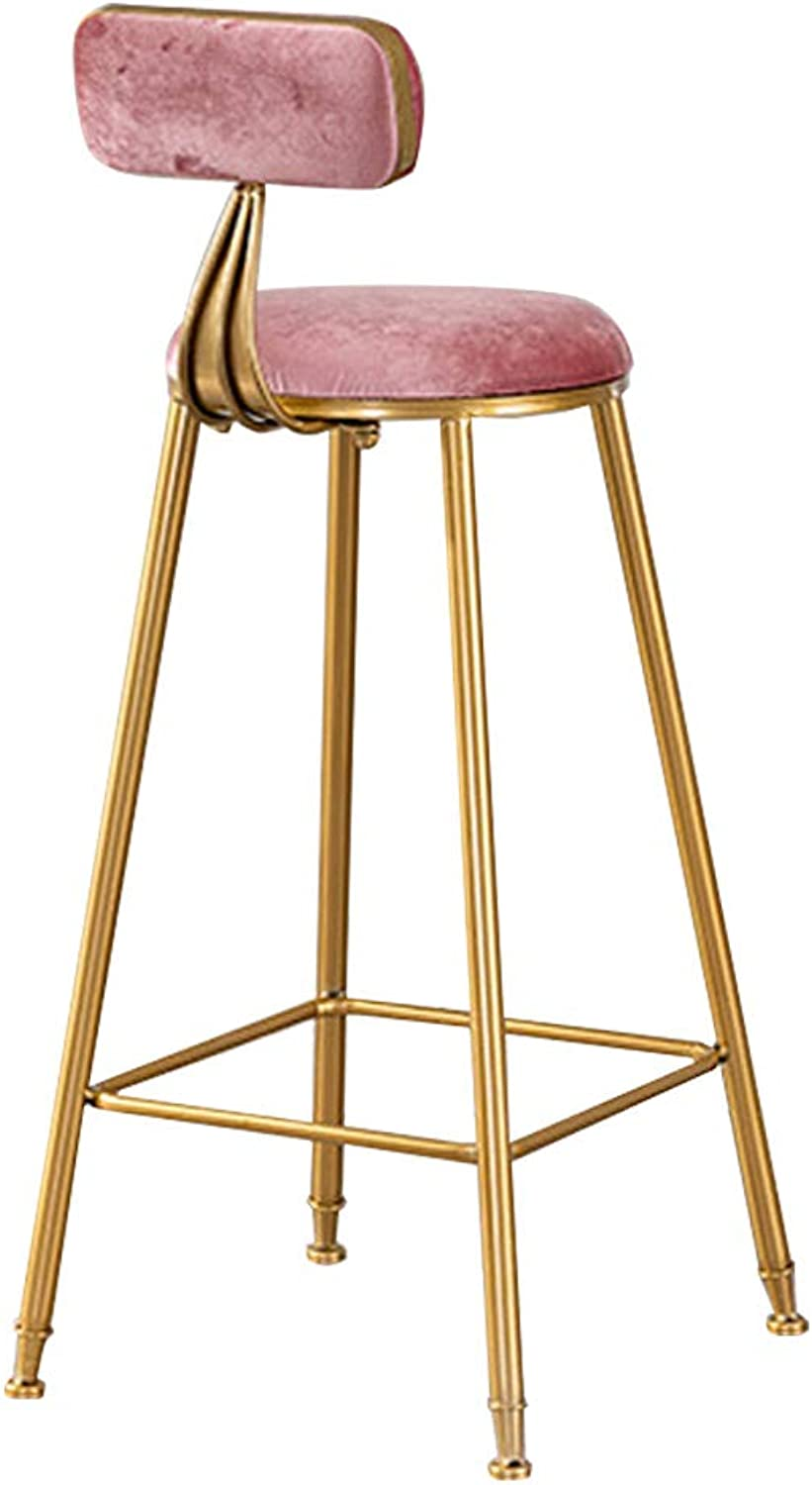 Modern Barstools Footrest Chair for Bar Pub Kitchen Breakfast Bar Stool with Back Counter Height   Side Dining Chair with Metal Leg and Velvet Seat,Pink