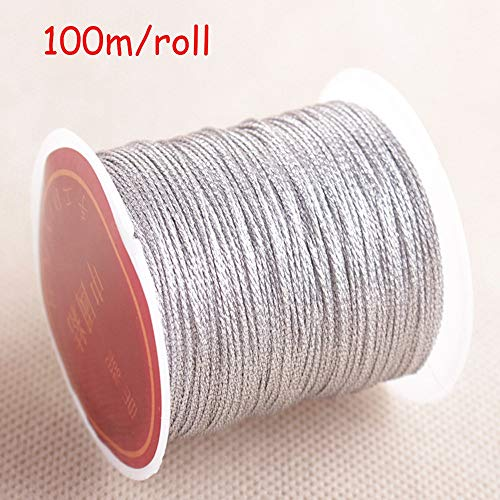 Touw Goud Zilver Kleur 100m / roll Duurzaam Overlocking Naaimachine Discussies Polyester Cross Stitch Sterke draden for het naaien Supplies (Color : Silver)