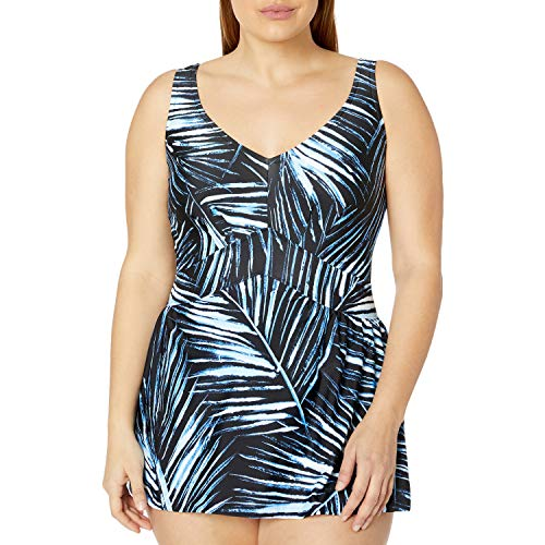 Maxine Of Hollywood Women's V-Neck Swim Dress One Piece Swimsuit, Black//Moonligh, 16