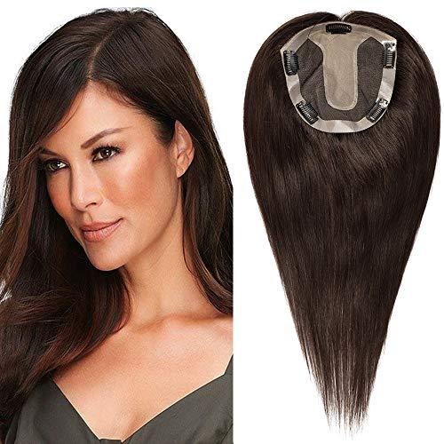 35cm - Extensiones Prótesis Capilares de Clip 15 * 16cm Toupee Pelo Natural 68g Clip in Topper Hair Extensions Remy Hair - 2# Marrón Oscuro