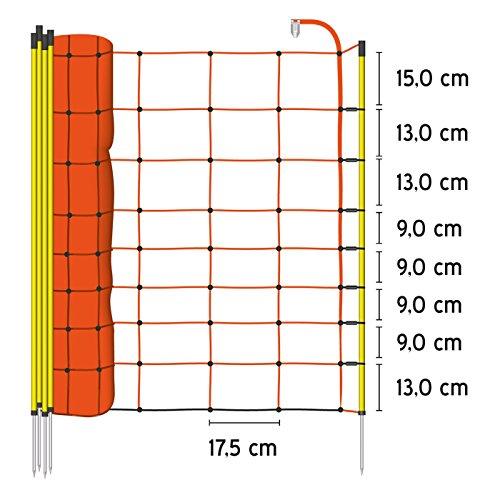VOSS.farming Schafzaun 90cm Classic 50m | Schafnetz Ziegenzaun Elektronetz | 14 Pfähle 1 Spitze | Orange - 2