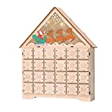 VIVOHOME Wooden LED Lighted Santa Sleigh Reindeer Snowflakes Christmas Countdown Advent Calendar with Drawers Battery Operated