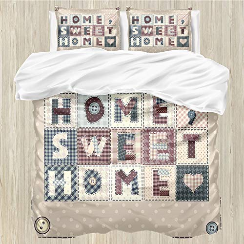 LanQiao Saying,Extra Large Duvet Cover,Patchwork Style Composition...