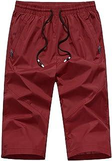 ba3a190a57b53 Alaso Short Homme 3/4 Court Pantalons Grande Taille Eté Casual Elastique  Cordon de Serrage