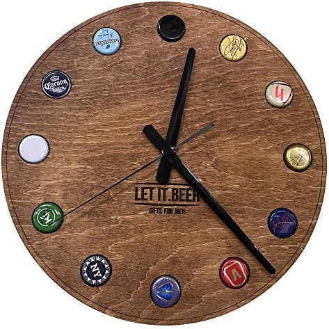 Wall Clock Gifts for Men Beer Non Ticking Silent Wood Room Decor Rustic Round Clock for Home product image