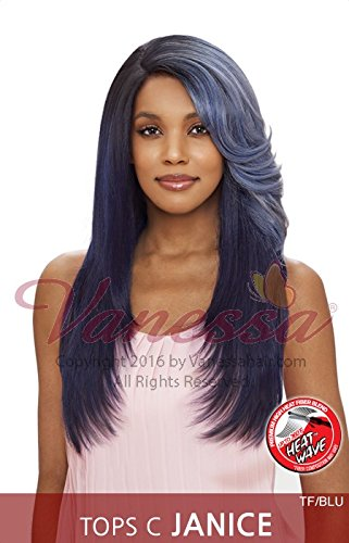 TOPS C JANICE (1 Jet Black) - Vanessa Synthetic Swiss Silk Lace Front Wig
