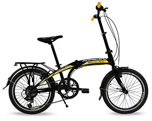 Bicicletta pieghevole 20'' Kron Fold 3.0, Folding bike con cambio 7 Velocità speed nero Unisex (Nero - Giallo)