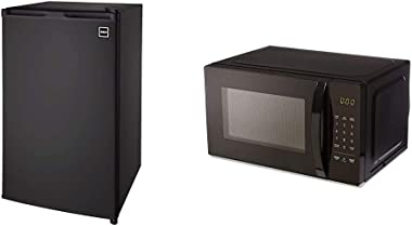 RCA RFR320 Single Door Mini Fridge with Freezer, 3.2 Cu. Ft. capacity - Black & AmazonBasics Microwave, Small, 0.7 Cu. Ft, 700W, Works with Alexa