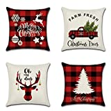 Soleebee Set of 4 Throw Pillow Covers Christmas Decoration Pillowcase Cushion Cover for Couch Sofa Bed Car 18x18 Inch (Red Plaid Christmas Theme-D)