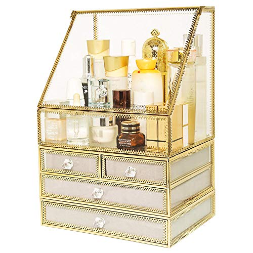Kosmetische Aufbewahrungsbox Aus Glas, Staubdichter Organisationsausstellungsstand Für Schmuck Der Schublade, Schminktischregal