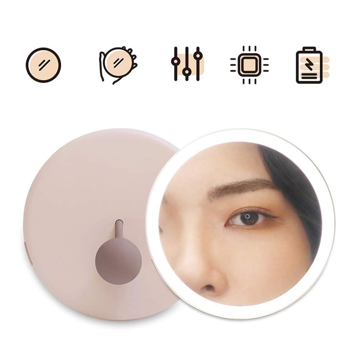 なぞらえるこどもセンターコマンドGEABQJ LED化粧鏡 ハンドヘルド 運ぶ ミニ 素敵な フィル顕微鏡、 2色、 直径114.5mm (Color : Pink)
