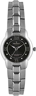 Peugeot Women Silver-Tone Wrist Watch with Bracelet and Roman Numerals Dial